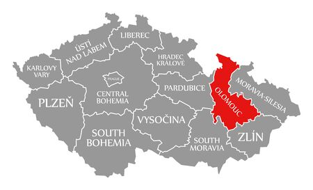 Olomouc red highlighted in map of Czech Republic