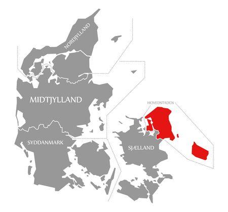 Hovedstaden red highlighted in map of Denmark