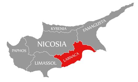 Larnaca red highlighted in map of Cyprus