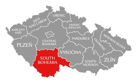 South Bohemia red highlighted in map of Czech Republic Фото со стока