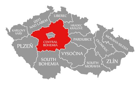 Central Bohemia red highlighted in map of Czech Republic