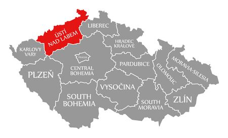 Usti Nad Labem red highlighted in map of Czech Republic
