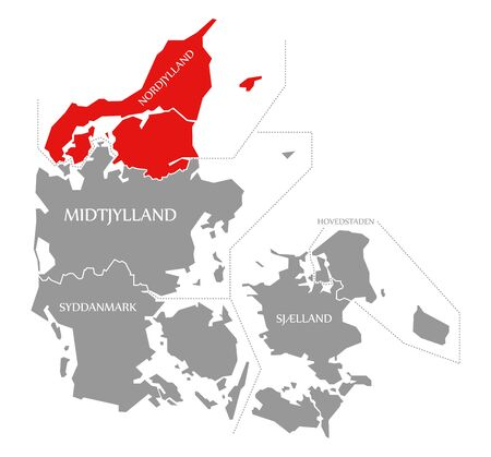 Nordjylland red highlighted in map of Denmark