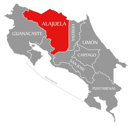 Alajuela red highlighted in map of Costa Rica
