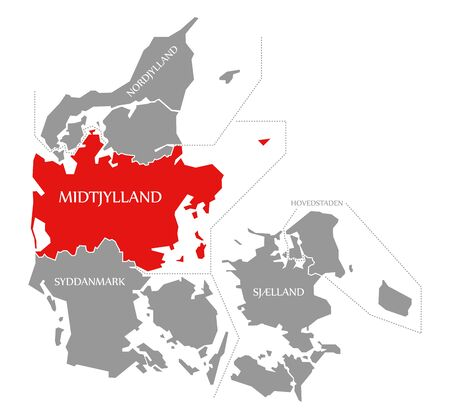 Midtjylland red highlighted in map of Denmark Фото со стока