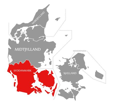 Syddanmark red highlighted in map of Denmark Фото со стока