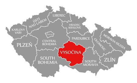 Vysocina red highlighted in map of Czech Republic