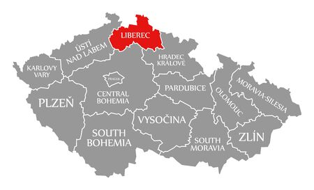 Liberec red highlighted in map of Czech Republic Фото со стока