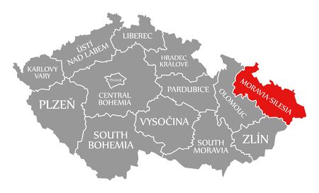 Moravia Silesia red highlighted in map of Czech Republic