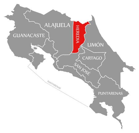Heredia red highlighted in map of Costa Rica