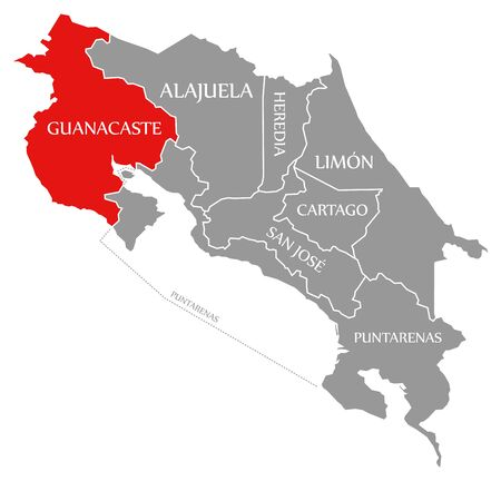 Guanacaste red highlighted in map of Costa Rica