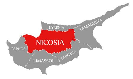 Nicosia red highlighted in map of Cyprus