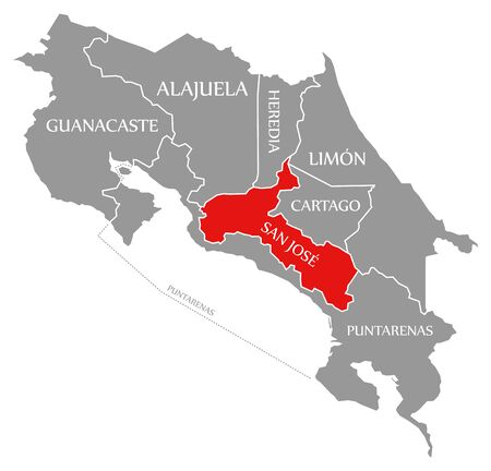 San Jose red highlighted in map of Costa Rica