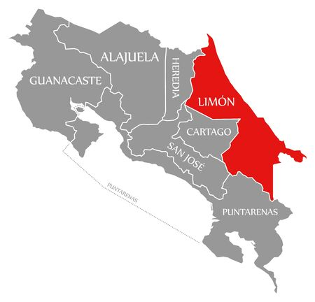 Limon red highlighted in map of Costa Rica
