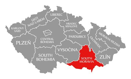 South Moravia red highlighted in map of Czech Republic
