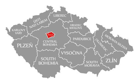 Prague red highlighted in map of Czech Republic
