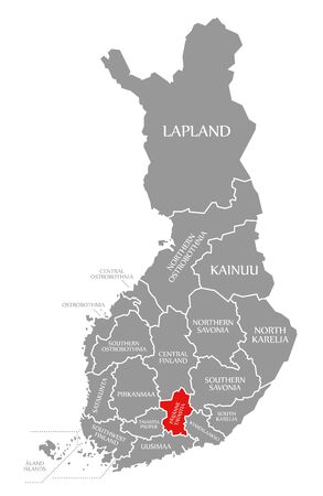 Paijanne Tavastia red highlighted in map of Finland
