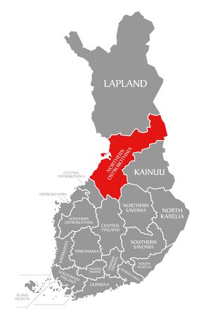 Northern Ostrobothnia red highlighted in map of Finland Фото со стока