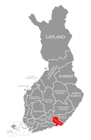 Kymenlaakso red highlighted in map of Finland