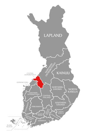 Central Ostrobothnia red highlighted in map of Finland