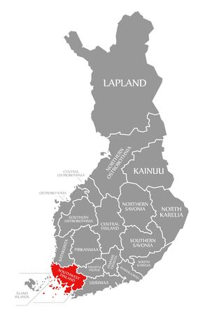 Southwest Finland red highlighted in map of Finland