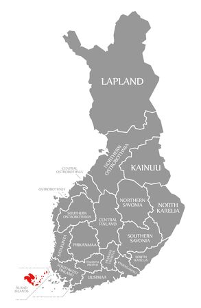 Aland Islands red highlighted in map of Finland Фото со стока