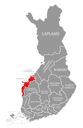 Ostrobothnia red highlighted in map of Finland