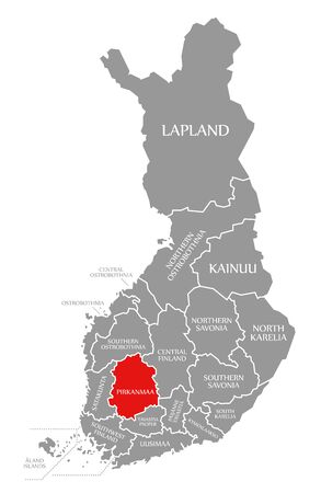Pirkanmaa red highlighted in map of Finland