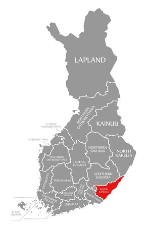 South Karelia red highlighted in map of Finland
