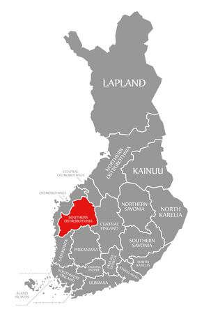 Southern Ostrobothnia red highlighted in map of Finland