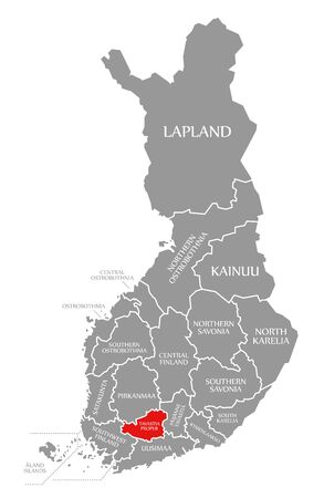 Tavastia Proper red highlighted in map of Finland