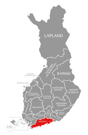 Uusimaa red highlighted in map of Finland