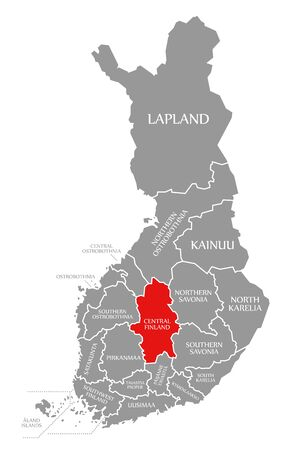 Central Finland red highlighted in map of Finland