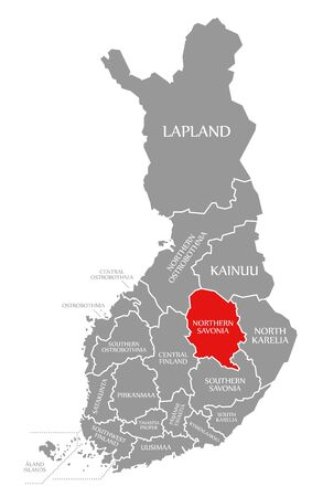 Northern Savonia red highlighted in map of Finland