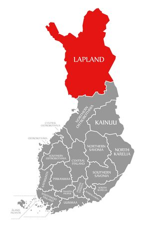 Lapland red highlighted in map of Finland