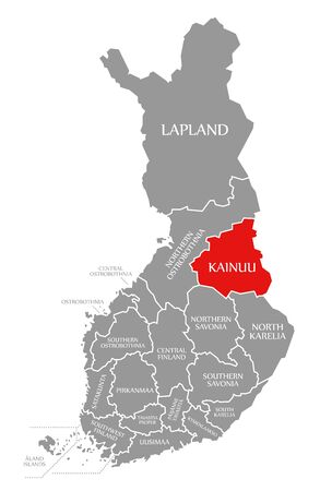Kainuu red highlighted in map of Finland