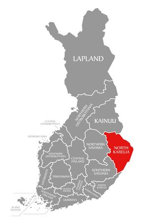 North Karelia red highlighted in map of Finland