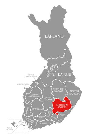 Southern Savonia red highlighted in map of Finland