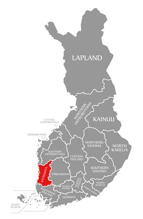 Satakunta red highlighted in map of Finland Фото со стока