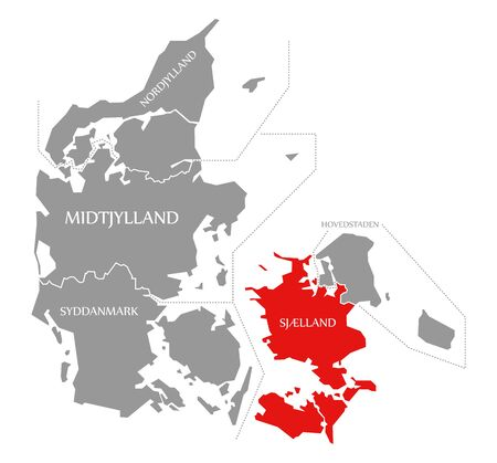 Sjælland red highlighted in map of Denmark Фото со стока