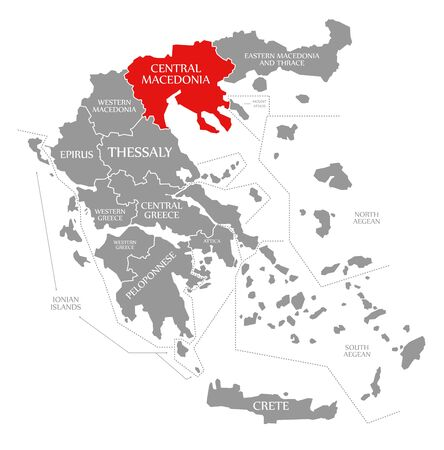 Central Macedonia red highlighted in map of Greece