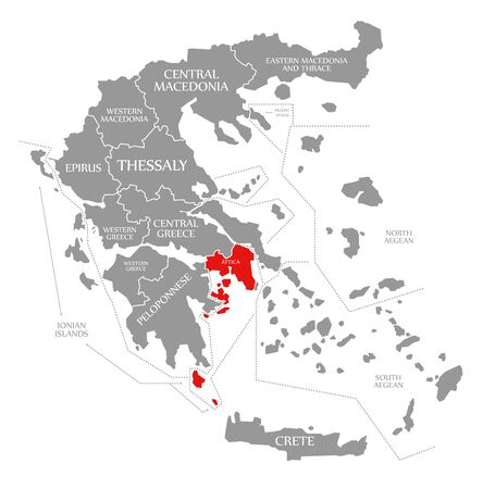 Attica red highlighted in map of Greece