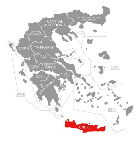 Crete red highlighted in map of Greece
