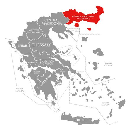 Eastern Macedonia and Thrace red highlighted in map of Greece