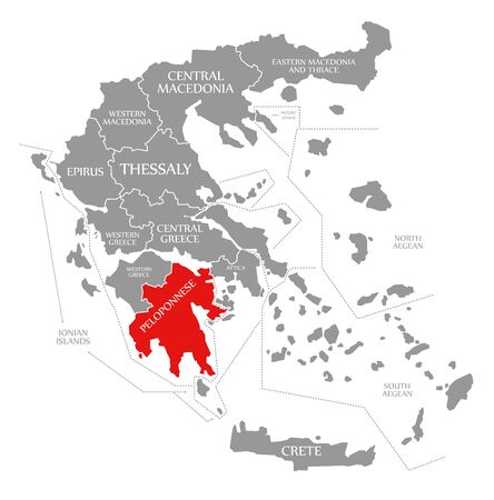 Peloponnese red highlighted in map of Greece