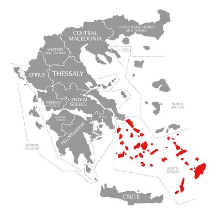 South Aegean red highlighted in map of Greece