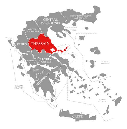 Thessaly red highlighted in map of Greece