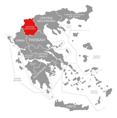 Western Macedonia red highlighted in map of Greece Фото со стока