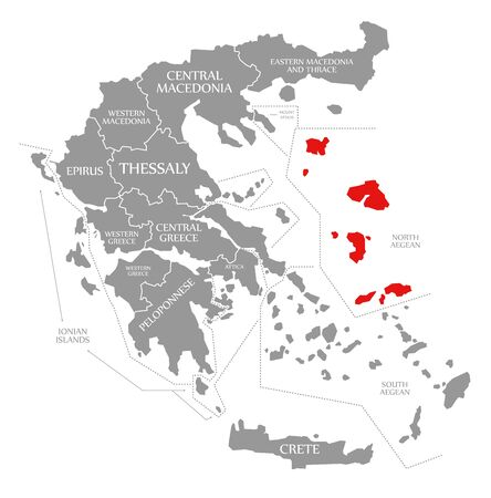 North Aegean red highlighted in map of Greece Фото со стока
