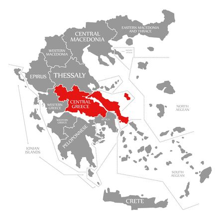 Central Greece red highlighted in map of Greece